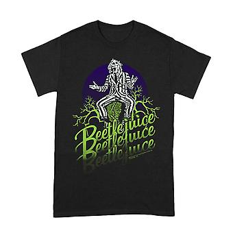 Men-apos;s Beetlejuice Logo Faded Black Crew Neck T-Shirt