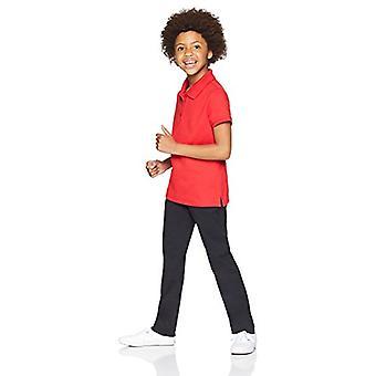 Essentials Little Girls' Flat Front Uniform Chino Pant, Preto,7