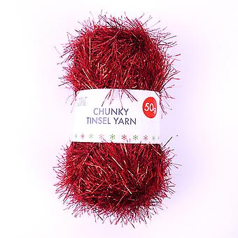 Simply Creative Chunky Tinsel Yarn Red (50g) (SCYRN001X19)