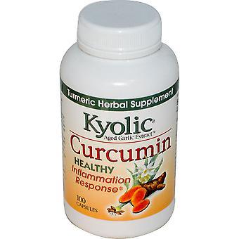 Kyolic, Extrait d'ail vieilli, Réponse inflammation, Curcumine, 100 Capsules