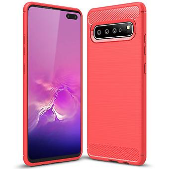 Soft Rubber Shell for Samsung Galaxy S10 Mobile Protection Mobile Shell Armor Silicone Red