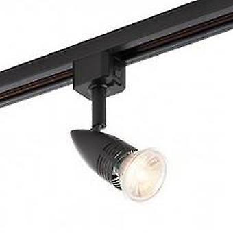 1 Light LED Track Head Light Only Matt Black, Black