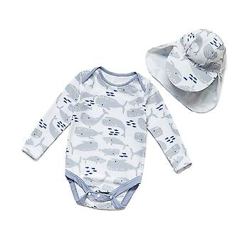 Bonverano Baby One Piece Sun Protection Long Sleeves Snap Button Sunsuit