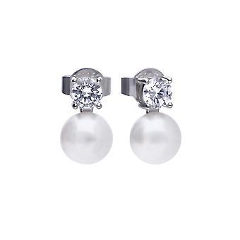 Diamonfire Round White Pearl And Cubic Zirconia Boucles d'oreilles E5778