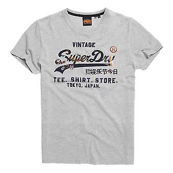 Superdry Vintage Logo Infill Store T-Shirt - Grey Marl
