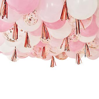 Blush, White And Rose Gold 160 Ceiling Balloons With Tassels Show Stopper