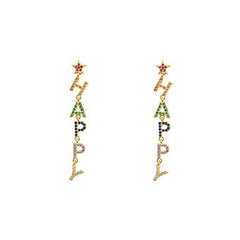 Farverige Rainbow Gul Happy Gemstone Erklæring Smykker Gold Drop Øreringe