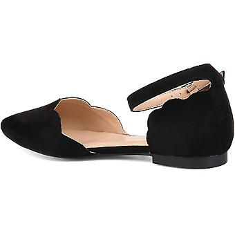 Brinley Co. Womens Scalloped Ankle Strap Flat