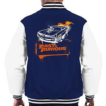 Schnelle und wütende Dodge Charger Flamme Männer's Varsity Jacke