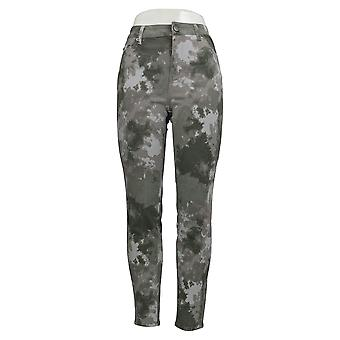LOGO by Lori Goldstein Women's Jeans Printed Twill Ankle Green A343692