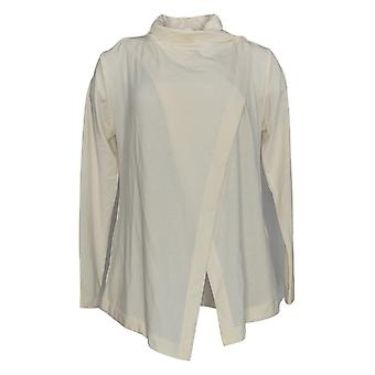 Old Navy Women's Top Activewear Wrap-Front Long Sleeve Ivory