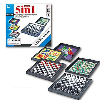 Chessmen Checkers Magnetic Board Game, Kids Classic Flight Puzzle Set