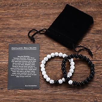 2pcs/set Couples Distance Bracelet, Classic Natural Stone Yin Yang Beaded