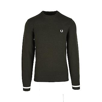 Fred Perry Tipped Crew Neck Jumper Hunting Green