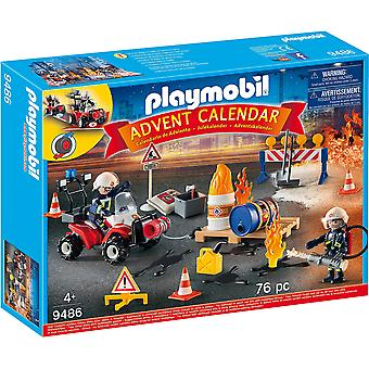 Playmobil 9486 Adventskalender Baustelle Feuerwehr, für Kinder ab 4 Jahren