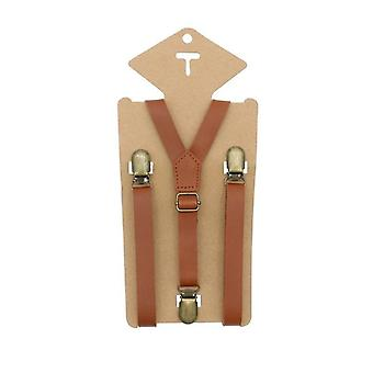 3 clips Y Back Kid Brown Tan Leather Suspender And Bow Tie Ring Bearer Bow Tie