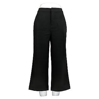 Halston Women's Pants Stitched Pleat Wide Leg Crop Trousers Black A274569