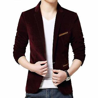 Men Slim Fit Blazer Formal Suit Jacket One Button Casual Coat