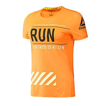 Reebok Womens Running Tee Neon Orange Training Top Gym T-Shirt BK1186