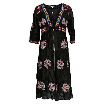 Tolani Collection Femmes's Petite Duster Floral Stitch Black A374802