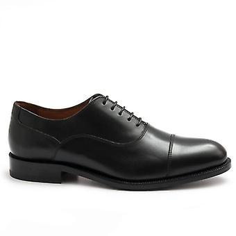 Oxford Schwarz Leder Fässer Schuh