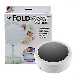 270-graders roterende, sammenleggbar og bærbar led makeup speil
