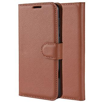 Nokia 1 Stoßfeste Brieftasche Folio Ledertasche - braun