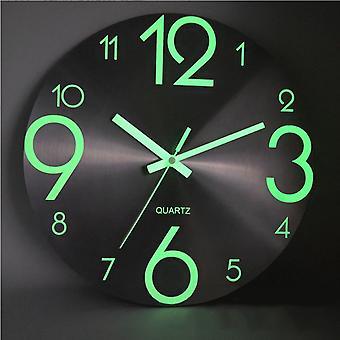 Luminous wall clock number quartz hanging clocks glow in the dark bedroom decor