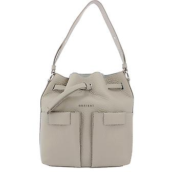 Orciani B02092softconchiglia Women's Beige Leather Shoulder Bag