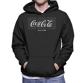 Coca Cola White Stripes Logo Men's Hooded Sweatshirt