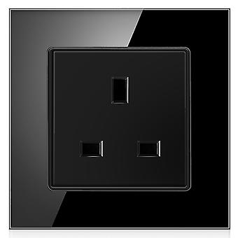 13a Uk Standard Wall Power Socket Grounded, Crystal Glass Panel