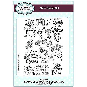 Kreative Ausdrucksformen Schöne Destinationen Journalisieren A5 Clear Stamp Set