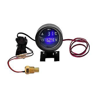 Ronde led digitale auto truck water temp gauge temperatuursensor moto + voltmeter 2 in 1