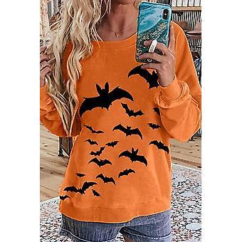 Women Bat Print Halloween Spirit Orange Sweatshirt