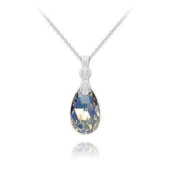 Vintage silver white ab necklace with swarovski crystal