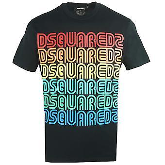 Dsquared2 Cool Fit Moniväriset logot Musta T-paita