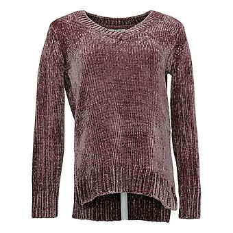 Orivis Women's Long Sleeves V-Neck Polyester Chenille Sweater Pink 1420674