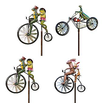 Vintage Bicycle Metal Wind Spinner With Standing Pole Garden Yard Lawn Decoration