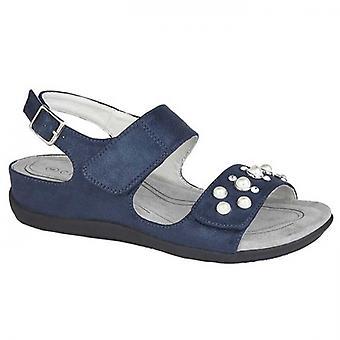 Boulevard Perla Ladies Jewelled Sandals Blue Shimmer