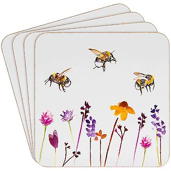 Ajetreado conjunto de diseño de abejas de 4 posavasos en Lesser &pavey