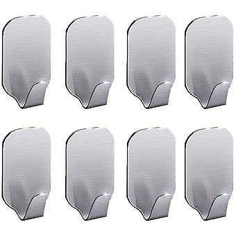 8 Pieces Adhesive Wall Hooks Stainless Steel Towel Rack For Kitchen Bathroom