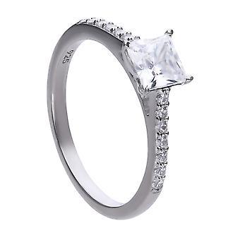 Diamonfire Womens 925 Sterling Silver Rhodium, Palladium & Platinum Plated Clear Cubic Zirconia Princess Cut Stone Promise Ring