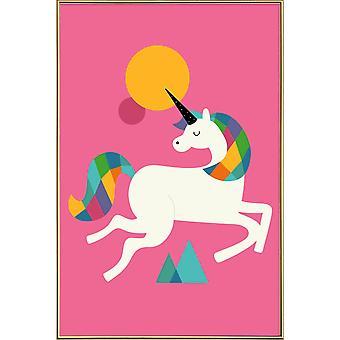 JUNIQE Print - Att vara en enhörning - Enhörningsaffisch i färgglatt och rosa