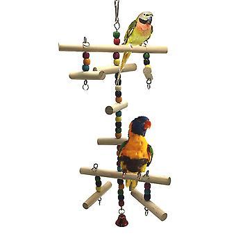 תוכי ציפור תוכי טיפוס סולם צעצוע נדנדת עץ