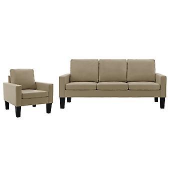 vidaXL 2 pcs. Sofa set Cappuccino-Braun synthetic leather
