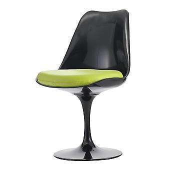 Fusion Living glansig svart och grön PU svängbar sidostol
