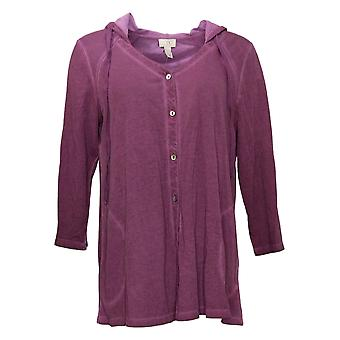 LOGO by Lori Goldstein Women's Distressed Poly Hooded Cardigan Purple A378840