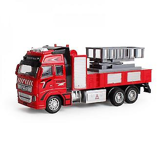 Red diecast metal realistic truck toy mz1123