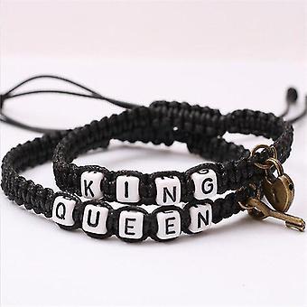 Egy pár romantikus gesztus karkötő felvázoló király és királynő témák (Fekete)