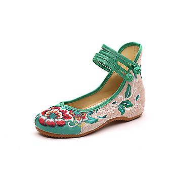 Women's Chinese Retro Ethnic Embroidery Low Heel Flat Elevator Cheongsam Dress Shoes High Furong Shoes